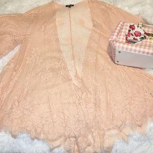 New torrid peach lace kimono sz.1/2x